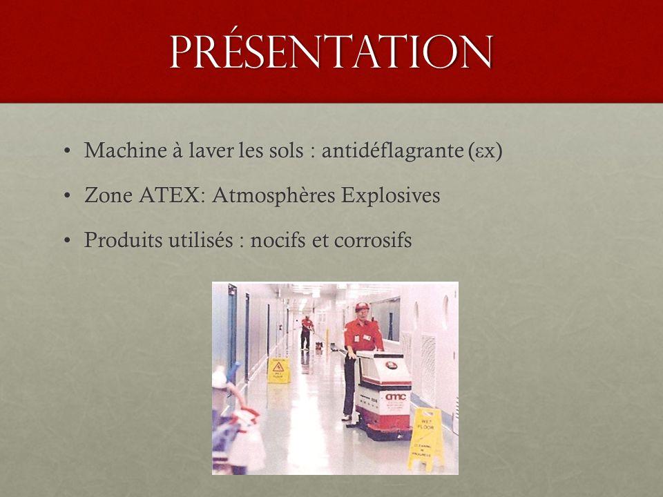 Présentation Machine à laver les sols : antidéflagrante ( ε x)Machine à laver les sols : antidéflagrante ( ε x) Zone ATEX: Atmosphères ExplosivesZone ATEX: Atmosphères Explosives Produits utilisés : nocifs et corrosifsProduits utilisés : nocifs et corrosifs