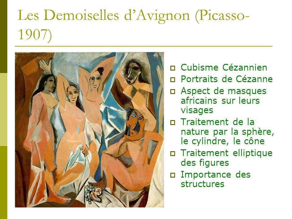 Les Demoiselles dAvignon (Picasso- 1907) Cubisme Cézannien Portraits de Cézanne Aspect de masques africains sur leurs visages Traitement de la nature