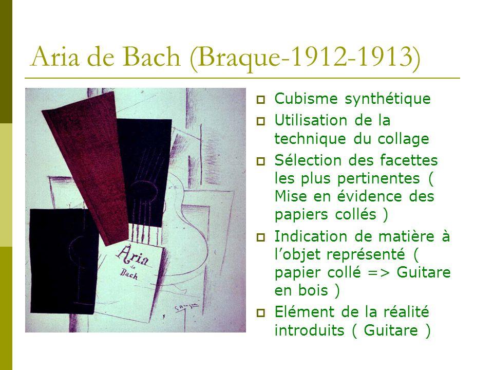 Aria de Bach (Braque-1912-1913) Cubisme synthétique Utilisation de la technique du collage Sélection des facettes les plus pertinentes ( Mise en évide