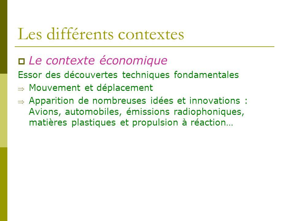 Les différents contextes Le contexte économique Essor des découvertes techniques fondamentales Mouvement et déplacement Apparition de nombreuses idées