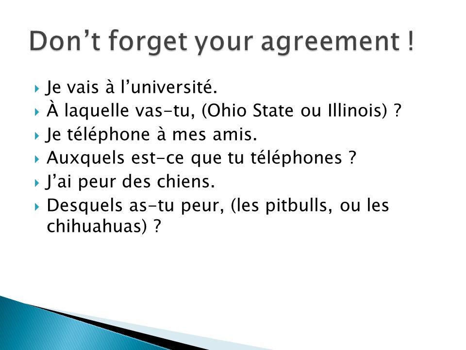 Je vais à luniversité. À laquelle vas-tu, (Ohio State ou Illinois) .