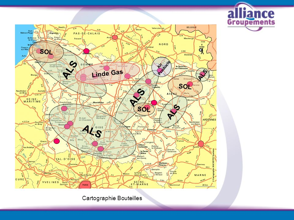 ALS SOL Air Products Linde Gas ALS Cartographie Bouteilles SOL ALS