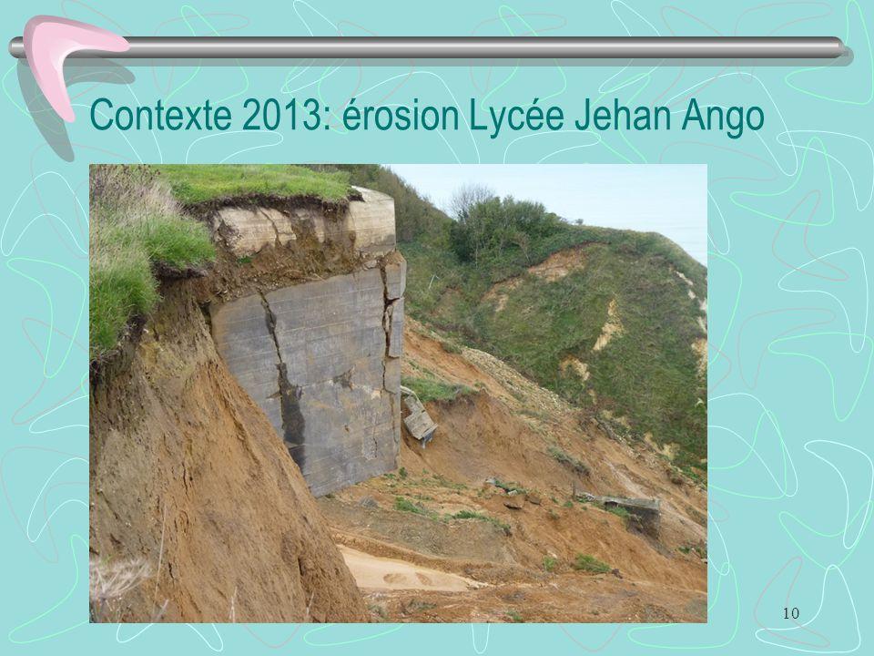 10 Contexte 2013: érosion Lycée Jehan Ango