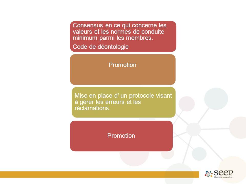 Consensus en ce qui concerne les valeurs et les normes de conduite minimum parmi les membres.