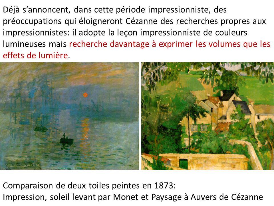 Déjà sannoncent, dans cette période impressionniste, des préoccupations qui éloigneront Cézanne des recherches propres aux impressionnistes: il adopte
