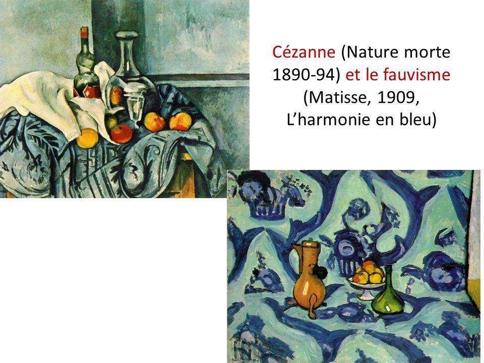 Cézanne (Nature morte 1890-94) et le fauvisme (Matisse, 1909, Lharmonie en bleu)