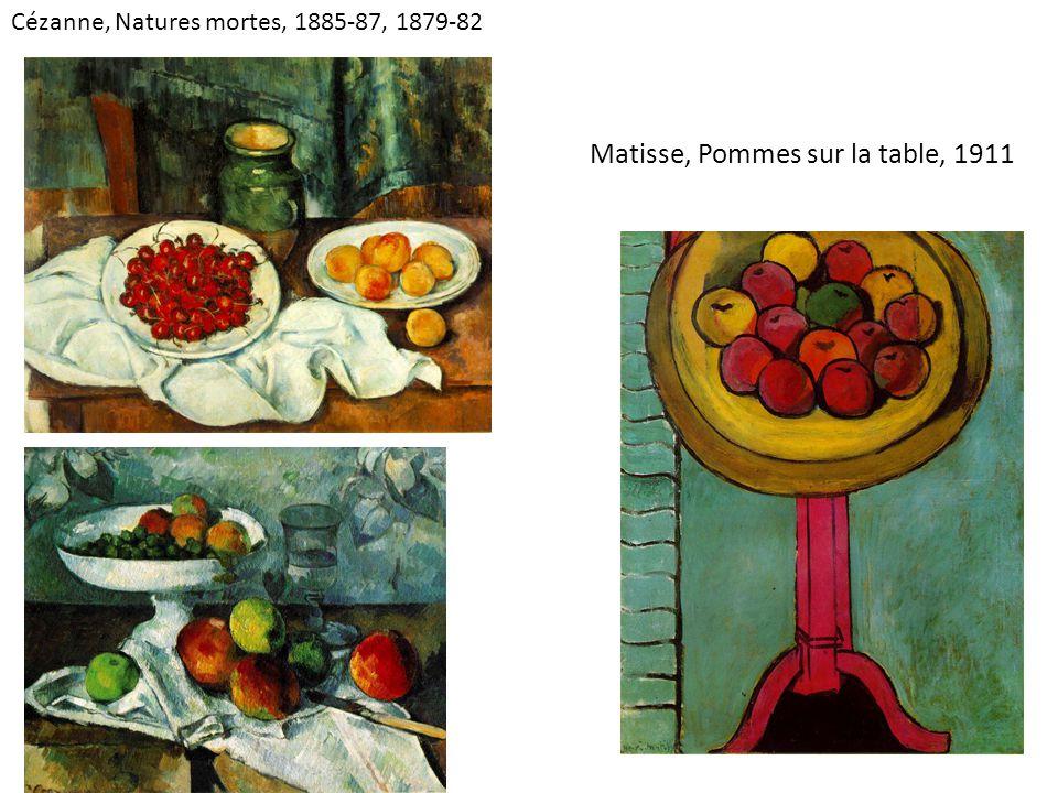 Matisse, Pommes sur la table, 1911 Cézanne, Natures mortes, 1885-87, 1879-82