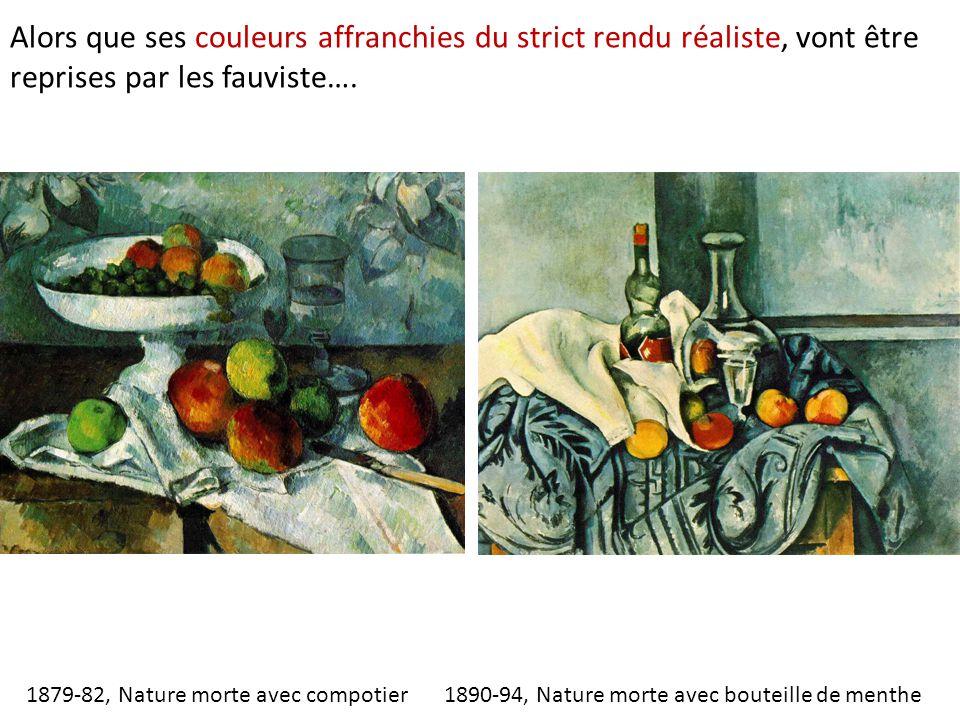 1890-94, Nature morte avec bouteille de menthe Alors que ses couleurs affranchies du strict rendu réaliste, vont être reprises par les fauviste…. 1879