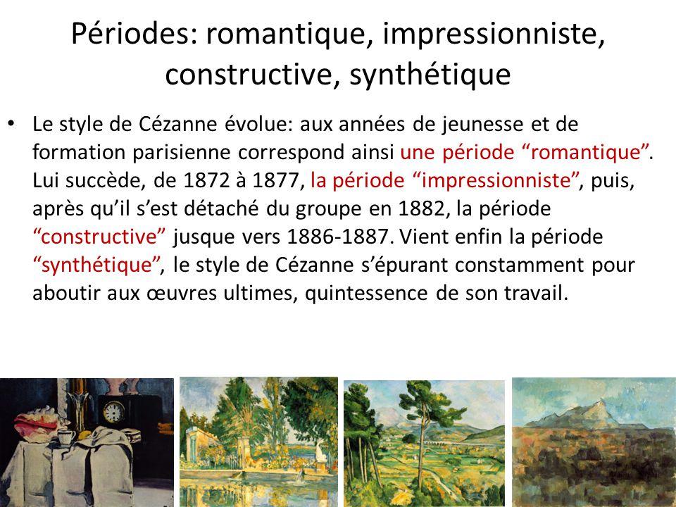 Périodes: romantique, impressionniste, constructive, synthétique Le style de Cézanne évolue: aux années de jeunesse et de formation parisienne corresp