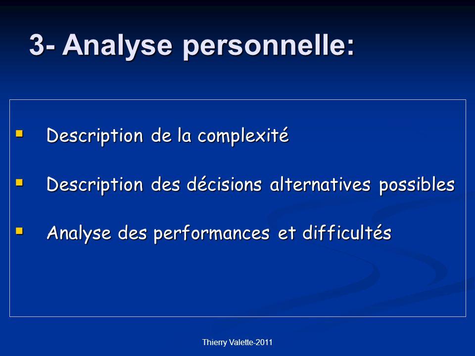 Thierry Valette-2011 Description de la complexité Description de la complexité Description des décisions alternatives possibles Description des décisions alternatives possibles Analyse des performances et difficultés Analyse des performances et difficultés 3- Analyse personnelle: