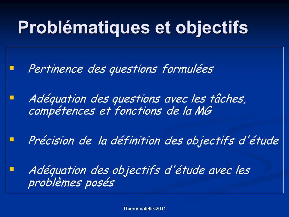 Thierry Valette-2011 Pertinence des questions formulées Adéquation des questions avec les tâches, compétences et fonctions de la MG Précision de la définition des objectifs d étude Adéquation des objectifs d étude avec les problèmes posés Problématiques et objectifs