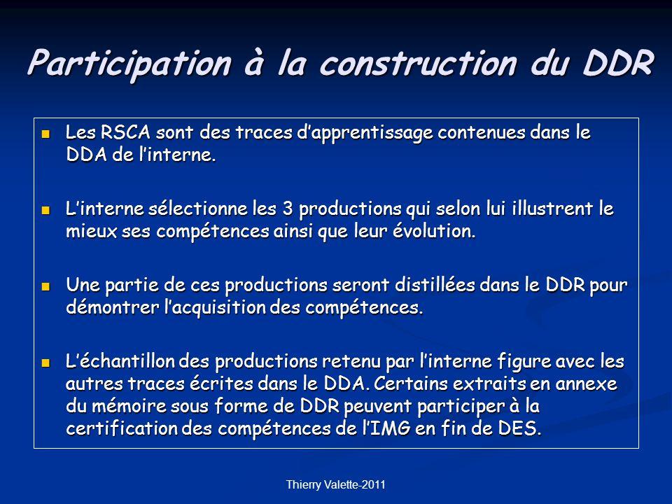 Participation à la construction du DDR Les RSCA sont des traces dapprentissage contenues dans le DDA de linterne.