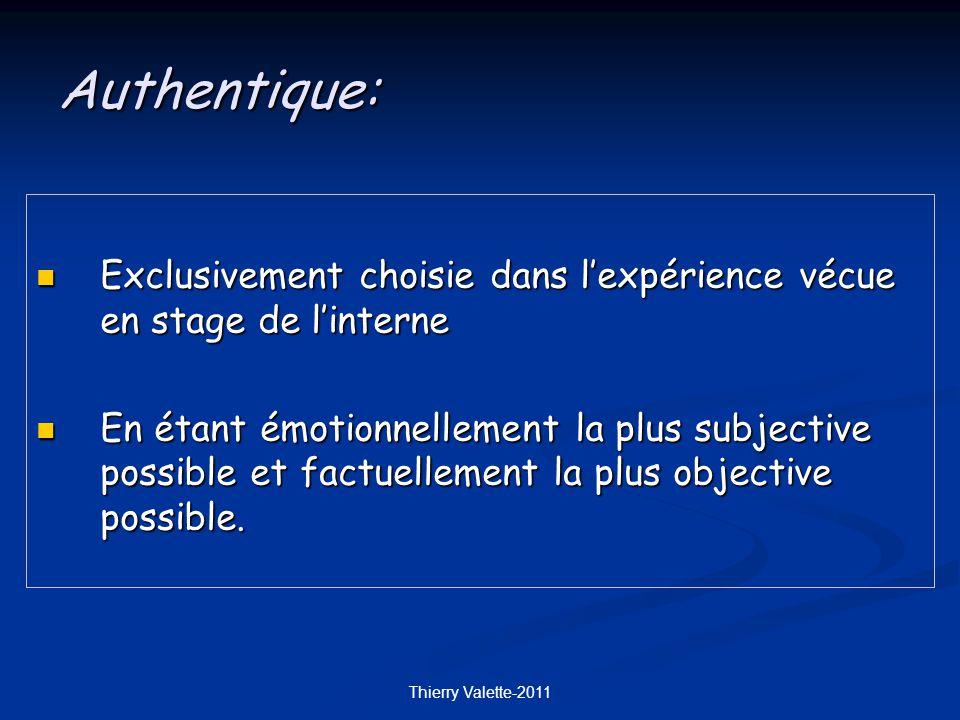 Thierry Valette-2011 Exclusivement choisie dans lexpérience vécue en stage de linterne Exclusivement choisie dans lexpérience vécue en stage de linterne En étant émotionnellement la plus subjective possible et factuellement la plus objective possible.