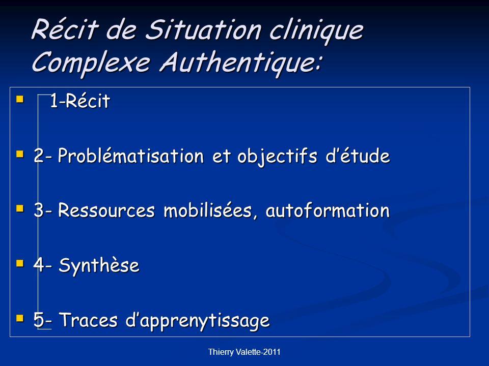 Thierry Valette-2011 1-Récit 1-Récit 2- Problématisation et objectifs détude 2- Problématisation et objectifs détude 3- Ressources mobilisées, autoformation 3- Ressources mobilisées, autoformation 4- Synthèse 4- Synthèse 5- Traces dapprenytissage 5- Traces dapprenytissage Récit de Situation clinique Complexe Authentique: