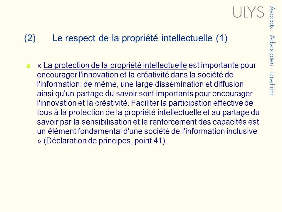 (2)Le respect de la propriété intellectuelle (1) « La protection de la propriété intellectuelle est importante pour encourager l innovation et la créativité dans la société de l information; de même, une large dissémination et diffusion ainsi qu un partage du savoir sont importants pour encourager l innovation et la créativité.