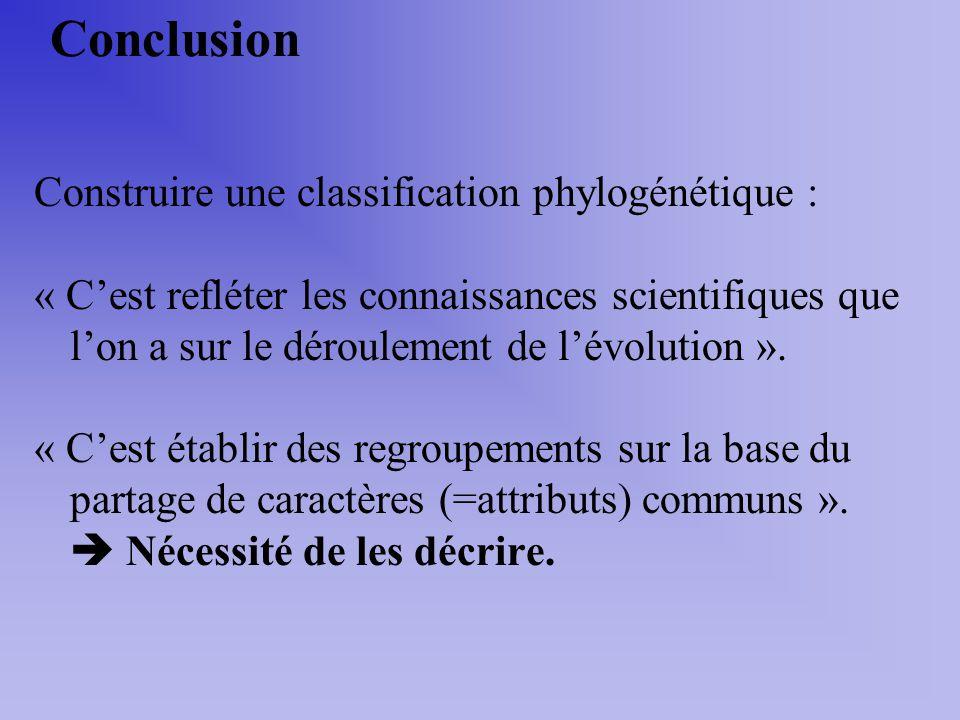 Conclusion Construire une classification phylogénétique : « Cest refléter les connaissances scientifiques que lon a sur le déroulement de lévolution »