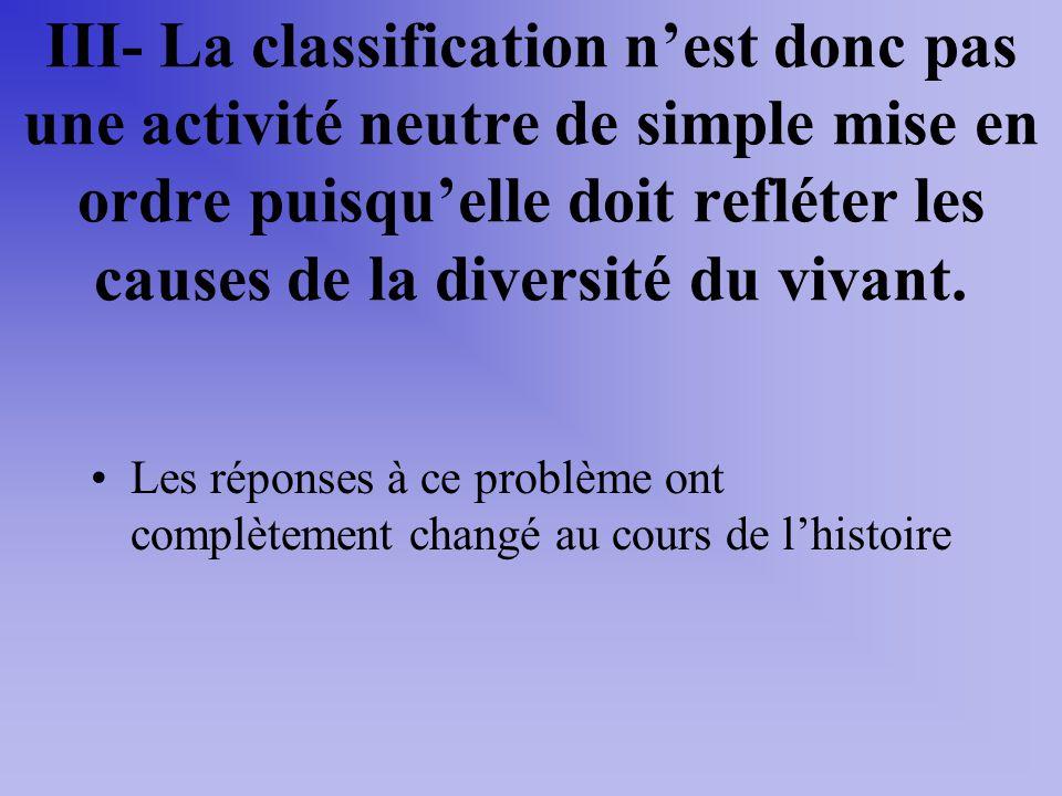 III- La classification nest donc pas une activité neutre de simple mise en ordre puisquelle doit refléter les causes de la diversité du vivant. Les ré