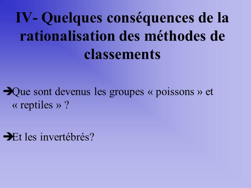 IV- Quelques conséquences de la rationalisation des méthodes de classements Que sont devenus les groupes « poissons » et « reptiles » ? Et les inverté