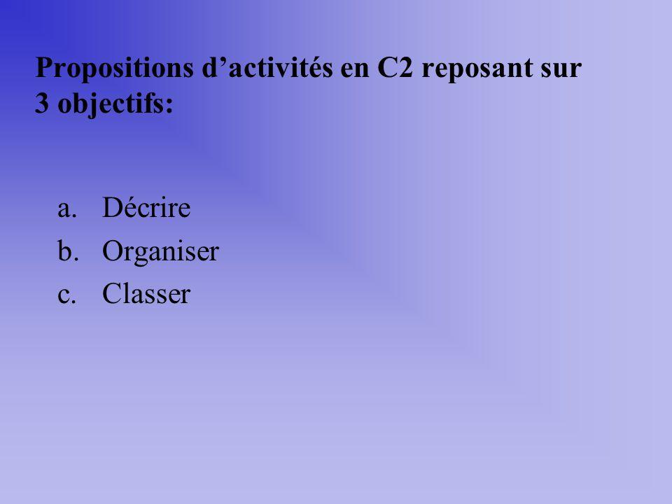 Propositions dactivités en C2 reposant sur 3 objectifs: a.Décrire b.Organiser c.Classer