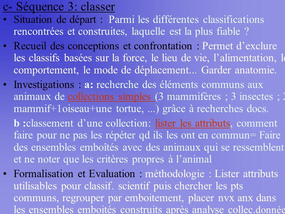 c- Séquence 3: classer Situation de départ : Parmi les différentes classifications rencontrées et construites, laquelle est la plus fiable ? Recueil d