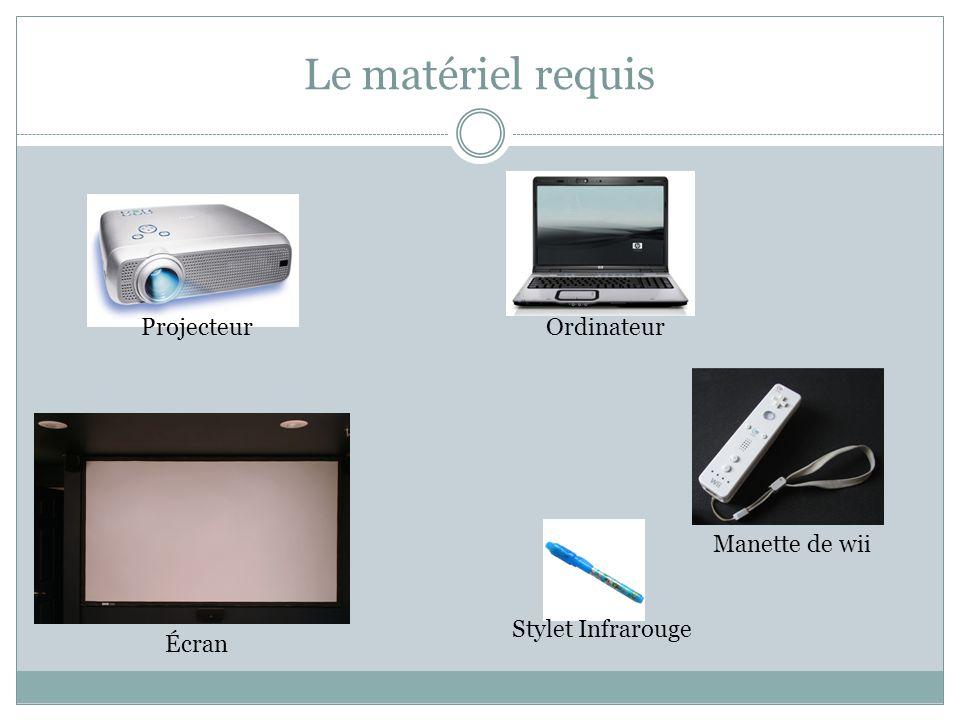 Le matériel requis Projecteur Écran Stylet Infrarouge Ordinateur Manette de wii