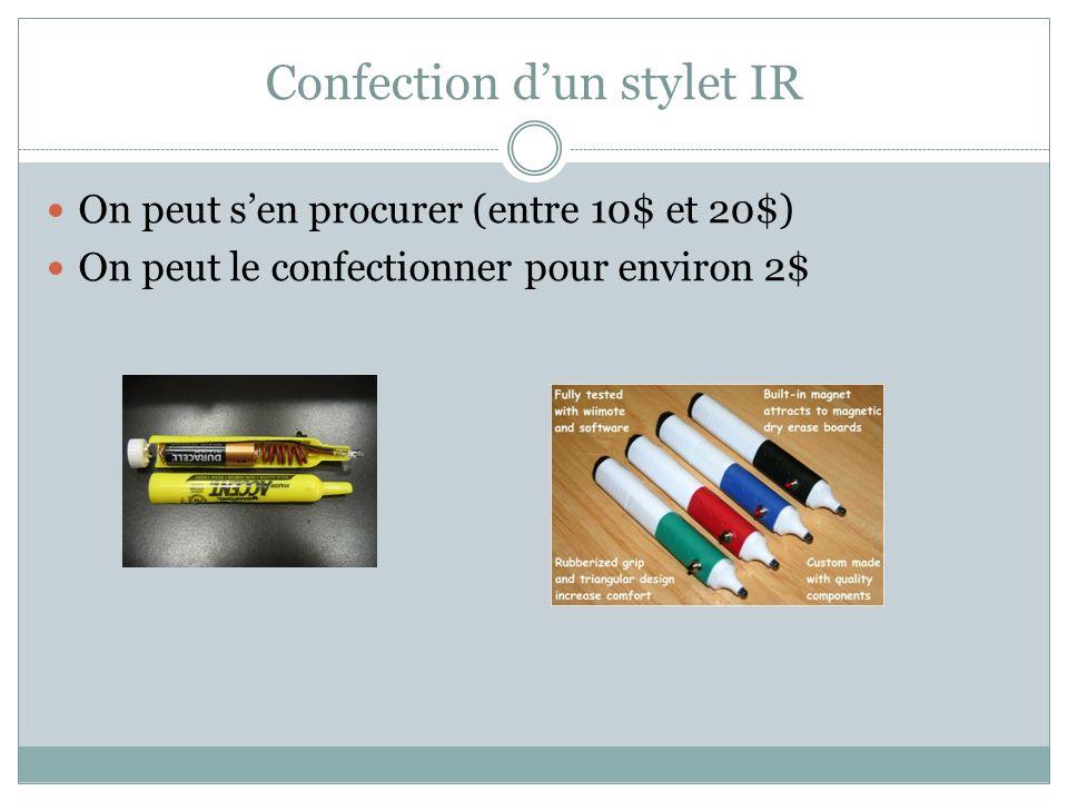 Confection sans soudure… Voir article sur recit.org à http://recit.org/wiki/wakka.php?wiki=WiiWhiteBoard http://recit.org/wiki/wakka.php?wiki=WiiWhiteBoard