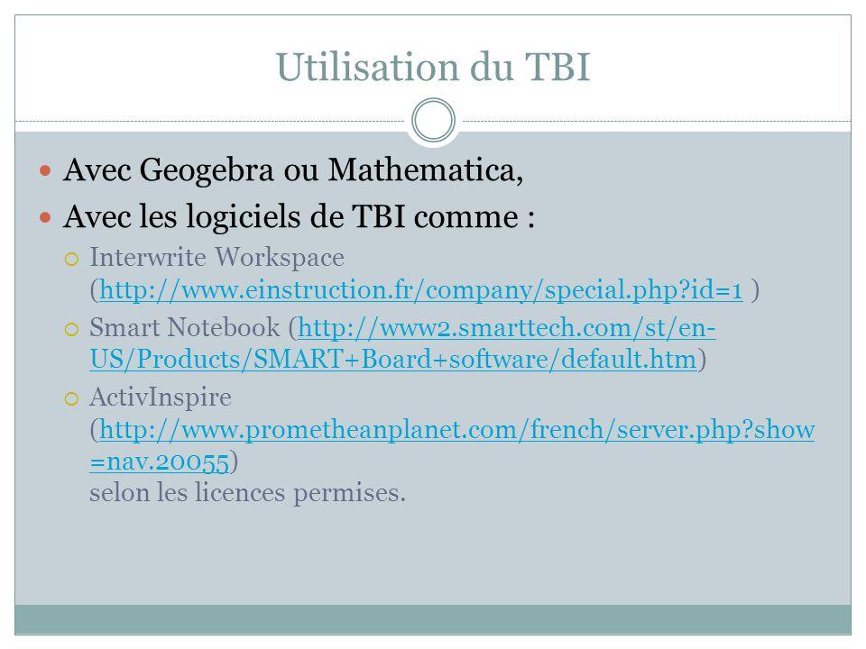 Utilisation du TBI Avec Geogebra ou Mathematica, Avec les logiciels de TBI comme : Interwrite Workspace (http://www.einstruction.fr/company/special.ph