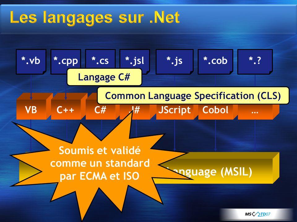 VBC++C#JScriptCobol…J# *.vb*.cpp*.cs*.js*.cob*. *.jsl Microsoft Intermediate Language (MSIL) Langage C# Common Language Specification (CLS) Soumis et validé comme un standard par ECMA et ISO