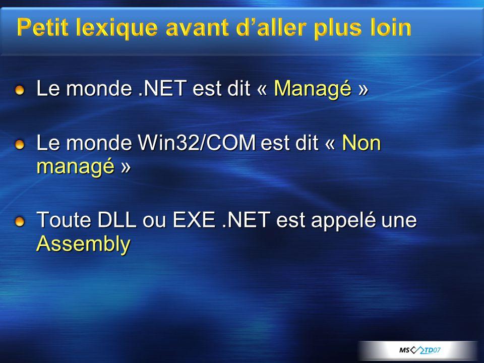 Le monde.NET est dit « Managé » Le monde Win32/COM est dit « Non managé » Toute DLL ou EXE.NET est appelé une Assembly