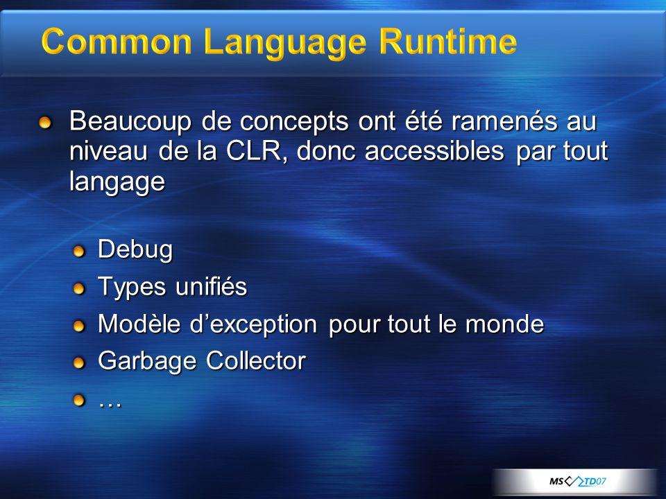 Beaucoup de concepts ont été ramenés au niveau de la CLR, donc accessibles par tout langage Debug Types unifiés Modèle dexception pour tout le monde Garbage Collector …
