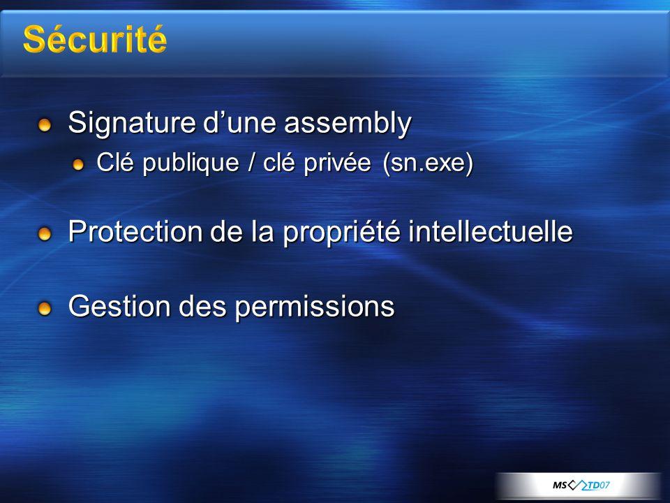 Signature dune assembly Clé publique / clé privée (sn.exe) Protection de la propriété intellectuelle Gestion des permissions