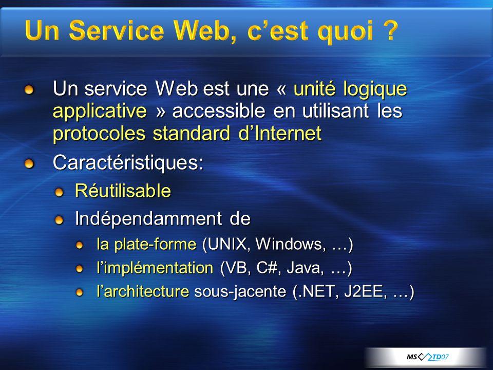 Un service Web est une « unité logique applicative » accessible en utilisant les protocoles standard dInternet Caractéristiques:Réutilisable Indépendamment de la plate-forme (UNIX, Windows, …) limplémentation (VB, C#, Java, …) larchitecture sous-jacente (.NET, J2EE, …)