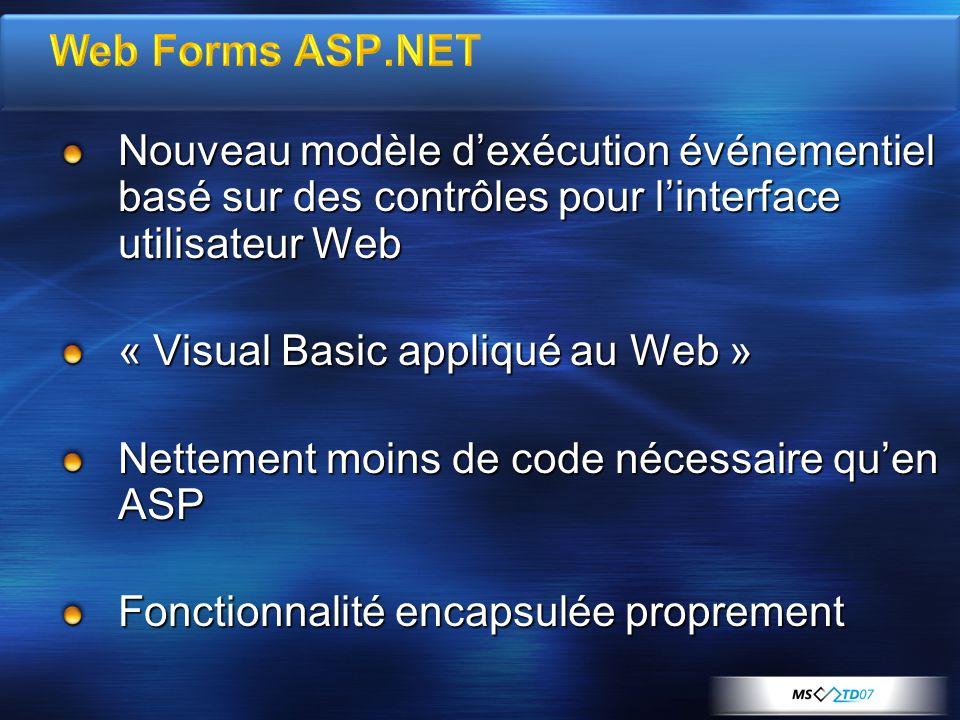 Nouveau modèle dexécution événementiel basé sur des contrôles pour linterface utilisateur Web « Visual Basic appliqué au Web » Nettement moins de code nécessaire quen ASP Fonctionnalité encapsulée proprement