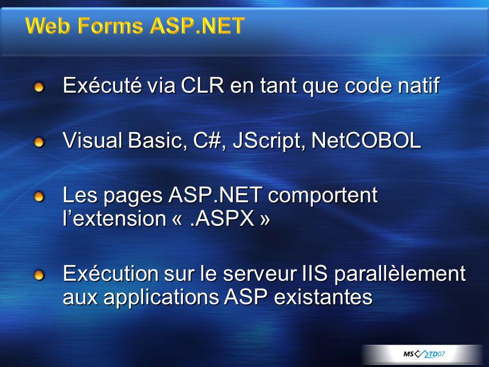 Exécuté via CLR en tant que code natif Visual Basic, C#, JScript, NetCOBOL Les pages ASP.NET comportent lextension «.ASPX » Exécution sur le serveur IIS parallèlement aux applications ASP existantes