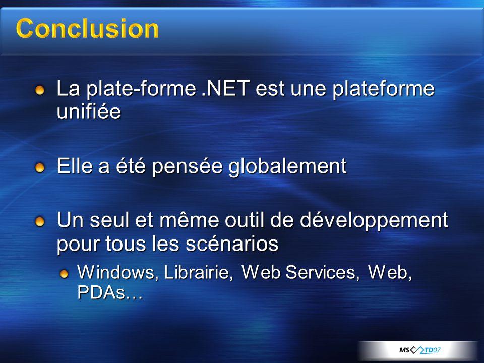 La plate-forme.NET est une plateforme unifiée Elle a été pensée globalement Un seul et même outil de développement pour tous les scénarios Windows, Librairie, Web Services, Web, PDAs…