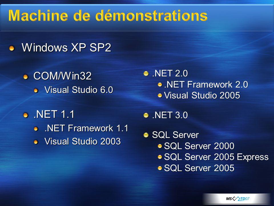 Windows XP SP2 COM/Win32 Visual Studio 6.0.NET 1.1.NET Framework 1.1 Visual Studio 2003.NET 2.0.NET Framework 2.0 Visual Studio 2005.NET 3.0 SQL Server SQL Server 2000 SQL Server 2005 Express SQL Server 2005
