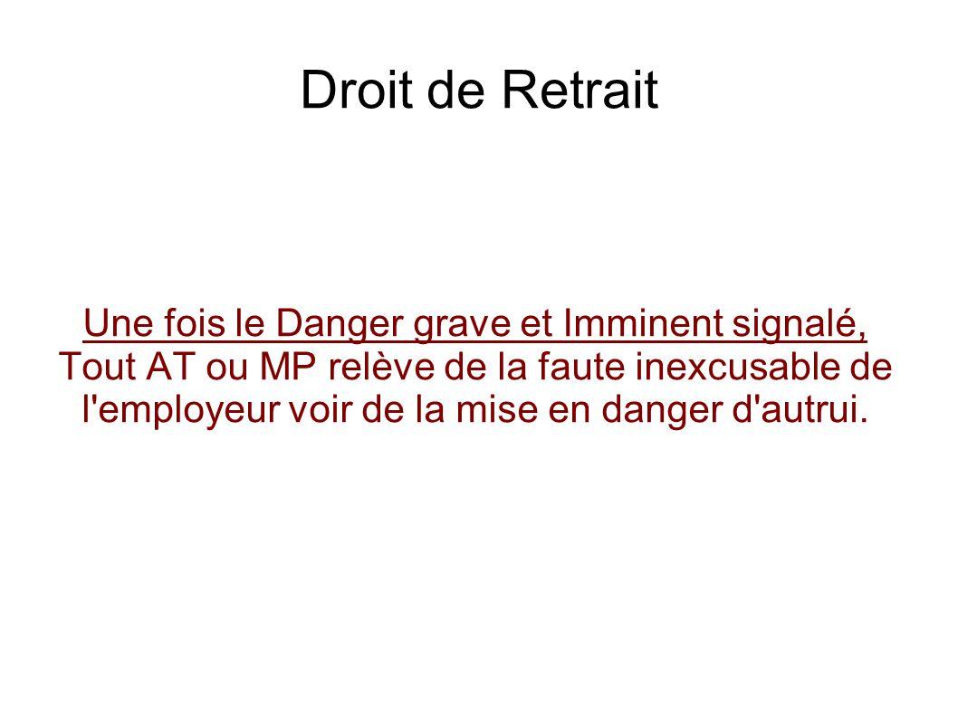 Droit de Retrait Une fois le Danger grave et Imminent signalé, Tout AT ou MP relève de la faute inexcusable de l'employeur voir de la mise en danger d
