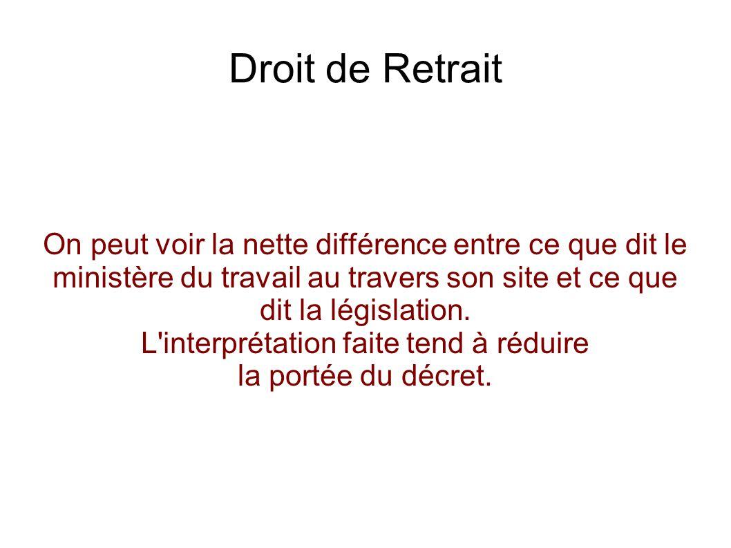 Droit de Retrait L employé DOIT prévenir l employeur.
