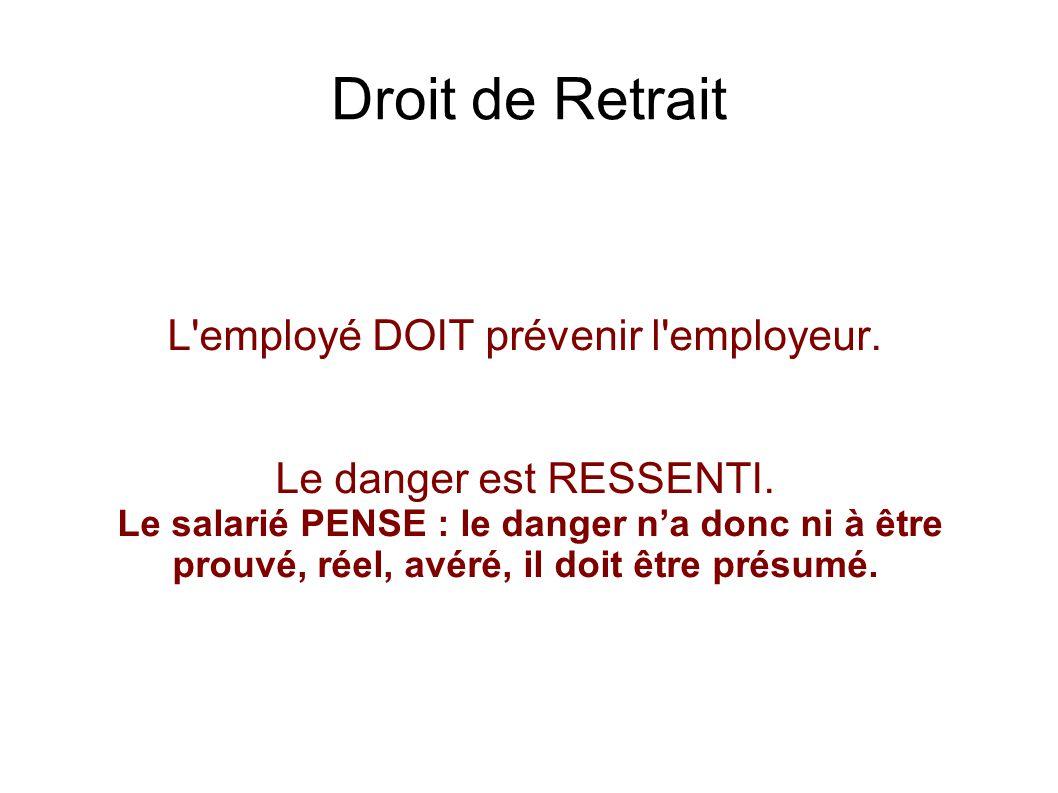 Droit de Retrait L'employé DOIT prévenir l'employeur. Le danger est RESSENTI. Le salarié PENSE : le danger na donc ni à être prouvé, réel, avéré, il d