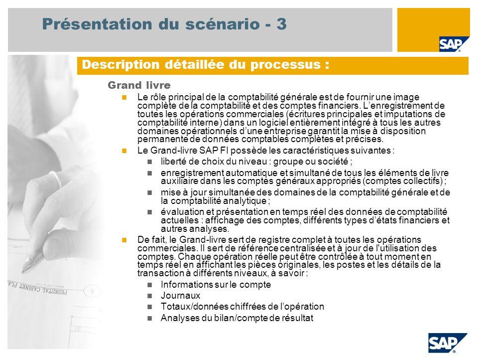 Présentation du scénario - 3 Grand livre Le rôle principal de la comptabilité générale est de fournir une image complète de la comptabilité et des com