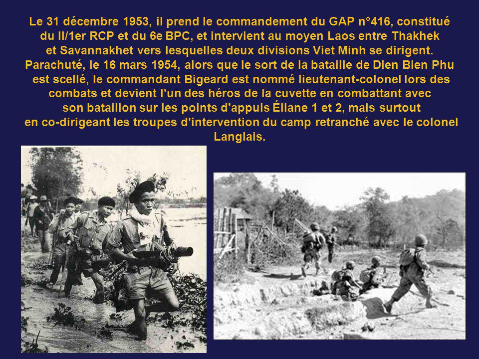 Bigeard après une exploration inquiétante lors d'un premier parachutage sur le camp en formation, gagne le Moyen Laos et la base de Séno puis retourne
