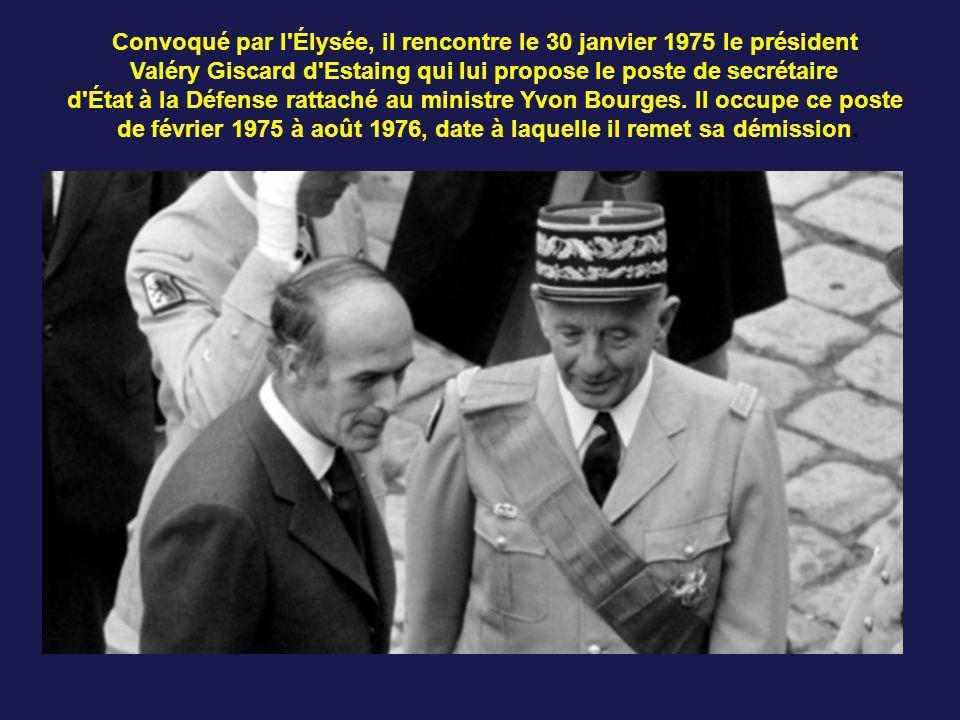 son retour en France, il devient de septembre 1973 à février 1974 le deuxième adjoint du gouverneur militaire de Paris. Promu général de corps d'armée