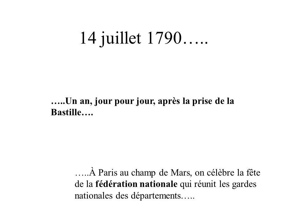 14 juillet 1790….. …..Un an, jour pour jour, après la prise de la Bastille…. …..À Paris au champ de Mars, on célèbre la fête de la fédération national