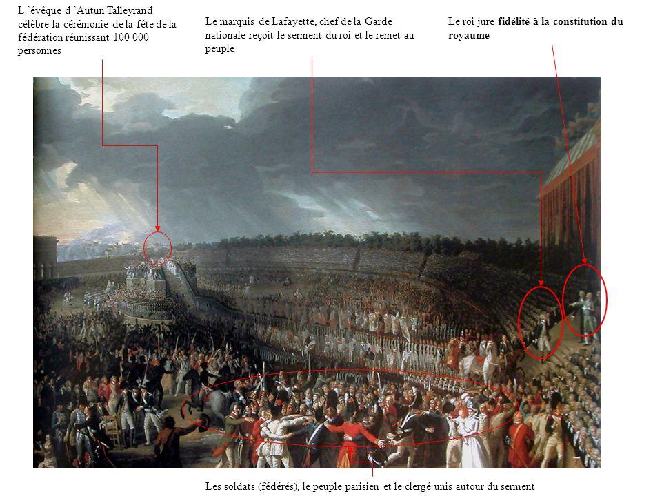Ce serment prononcé le 14 juillet 1790 par le roi et la nation réunis lors de la fête de la fédération, célébrant l anniversaire de la prise de la Bastille marque l union entre le Roi et le peuple autour de la nouvelle constitution.