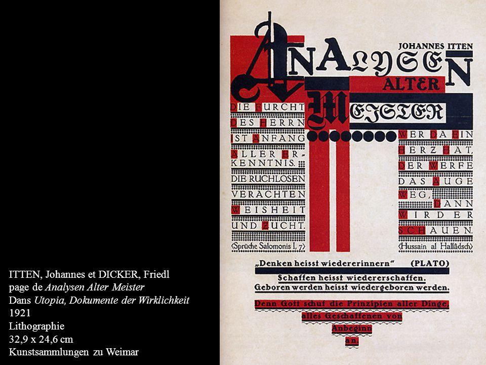 ITTEN, Johannes et DICKER, Friedl page de Analysen Alter Meister Dans Utopia, Dokumente der Wirklichkeit 1921 Lithographie 32,9 x 24,6 cm Kunstsammlun