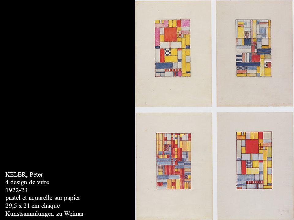 KELER, Peter 4 design de vitre 1922-23 pastel et aquarelle sur papier 29,5 x 21 cm chaque Kunstsammlungen zu Weimar