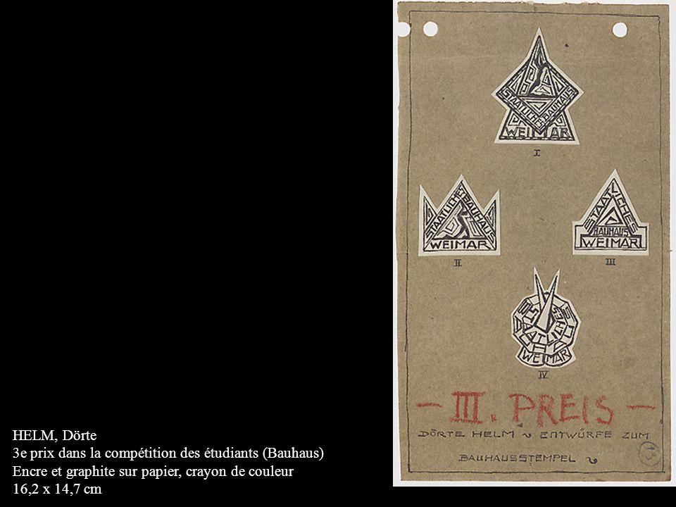 HELM, Dörte 3e prix dans la compétition des étudiants (Bauhaus) Encre et graphite sur papier, crayon de couleur 16,2 x 14,7 cm