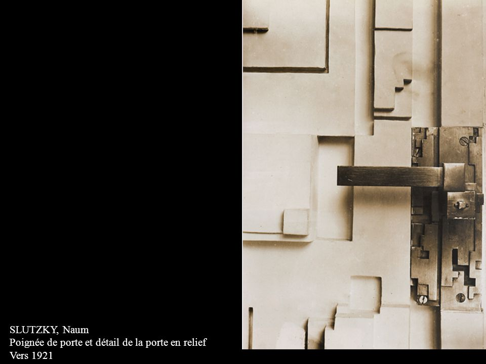 SCHMIDT, Joost Mur en relief, vestibule de lédifice principal de Bauhaus-Universität Weimar 1923 Recréé par Hubert Schiefelbein en 1976) Panneau de plâtre, plâtre coloré et verre en négatif - positif 335 x 196 cm
