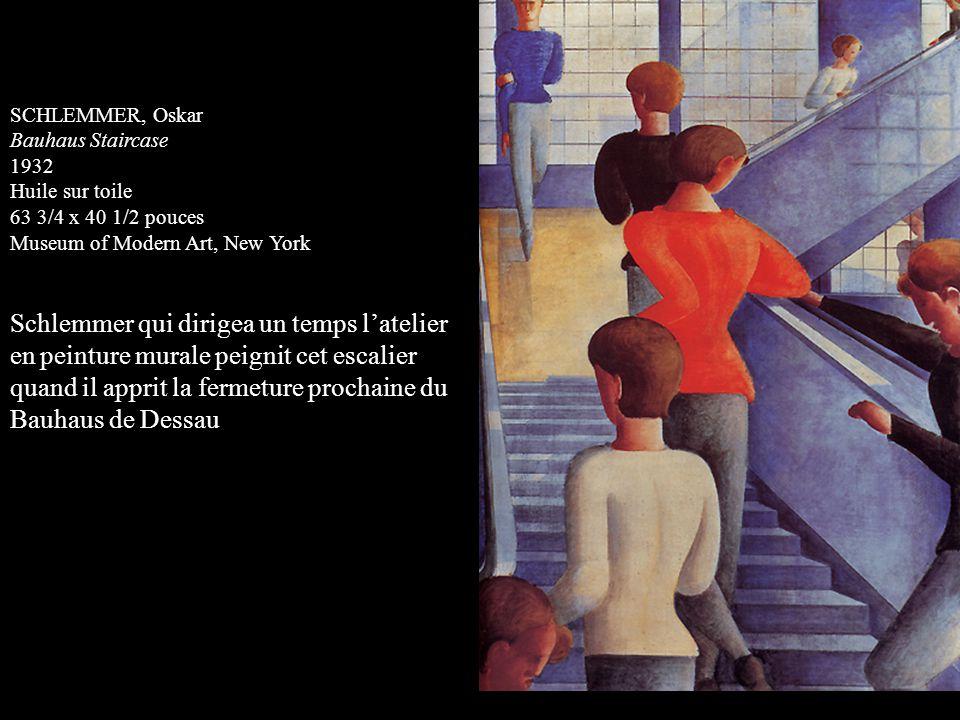 SCHLEMMER, Oskar Bauhaus Staircase 1932 Huile sur toile 63 3/4 x 40 1/2 pouces Museum of Modern Art, New York Schlemmer qui dirigea un temps latelier