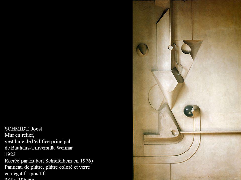 SCHMIDT, Joost Mur en relief, vestibule de lédifice principal de Bauhaus-Universität Weimar 1923 Recréé par Hubert Schiefelbein en 1976) Panneau de pl